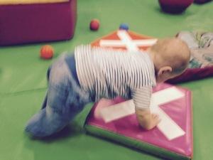Downward Dog - baby yoga style.
