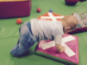 Downward Dog - baby yoga style.